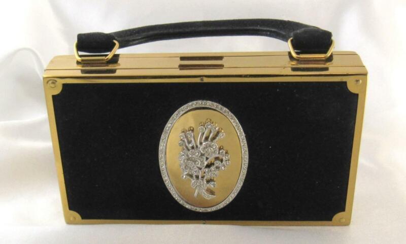 Vintage 1950s Evans Goldtone & Rhinestone Carryall Compact Cigarette Case