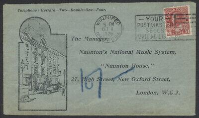 1928 Naunton House Advertising Reply Cover, Winnipeg Canada to London England