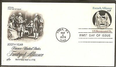 Us Sc   1753 French Alliance Fdc  Artcraft Cachet