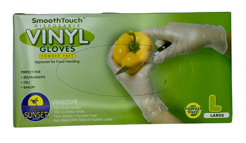 SmootTouch Vinly, Powder Free, Gloves - Large - 100 Count