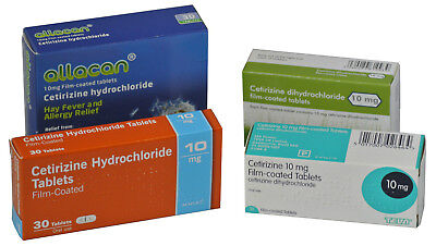 Cetirizine 10mg Hay Fever Allergy Relief (3 x 30 = 90) Generic Tablets