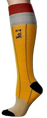 Foot Traffic Yellow Gray Pencil Design Knee High Women's Cotton Blend Socks New