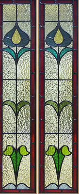Art Nouveau Stained glass window/ sidelight panels  Art Nouveau Stained Glass