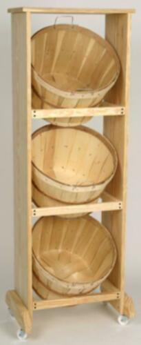 Wood Display with 3 One Bushel Baskets Natural Wood Casters NOT Included