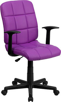 Mid-back Purple Quilted Vinyl Task Chair With Nylon Arms Office Chair