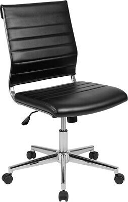 Mid-back Armless Black Leathersoft Ribbed Executive Swivel Office Chair