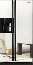 Samsung Frost Free American Fridge Freezer with mirrored front.
