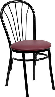 Lot Of 20 Metal Frame Fan Back Restaurant Chairs With Burgundy Vinyl Seat
