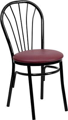 Metal Frame Fan Back Restaurant Chair With Burgundy Vinyl Seat
