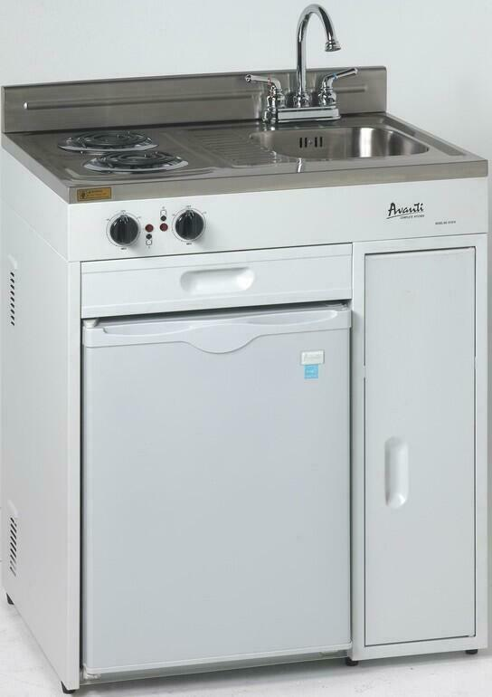 Avanti CK3016 30 Compact Kitchen with 2.2 cu. ft.  Stainless Steel : White