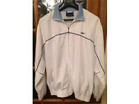 Men's 'LACOSTE' Tracksuit Top And Bottoms Size Large White Blue Piping