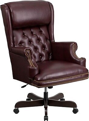 High Back Traditional Bottom Tufted Burgundy Leather Executive Office Chair