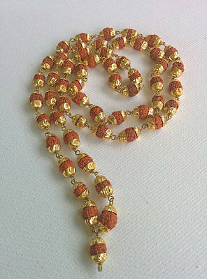 Authentic and Energized Gold Rudraksha mala  7 mm Beads