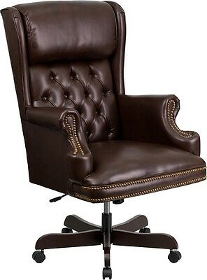 High Back Traditional Bottom Tufted Brown Leather Swivel Executive Office Chair