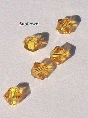 Swarovski bicone Austrian crystal beads faceted Sunflower yellow 3mm 4mm 5mm (6mm Faceted Bicone Beads)