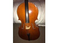 Cello 3/4 size with bow, strings and rosin