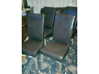 4 Leather chairs solid oak