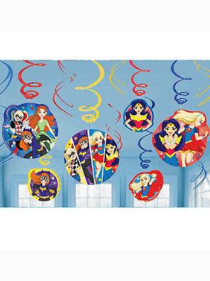 12 DC Superhero Girl Batgirl Supergirl Birthday Party Hanging Swirl - Supergirl Decorations