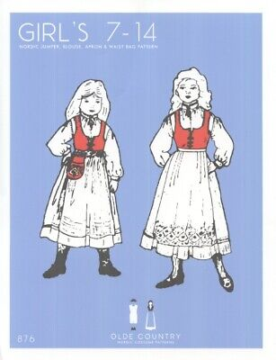 Scandinavian Nordic Style Ethnic Costume Dress Pattern Girls Size 7-14 - Cultural Costumes