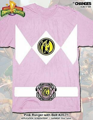 Power Ranger Kostüme Shirt (Mighty Morphin Power Rangers Pink Ranger Halloween Superhero Costume Tee Shirt)