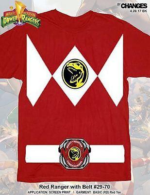 Mighty Morphin Power Rangers Rot Ranger Halloween Superheld Kostüm T-Shirt