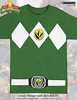 Mighty Morphin Power Rangers Grün Ranger Halloween Kostüm Superheld T-Shirt