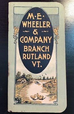 M.E. Wheeler & Company Fertilizer Rutland VT 1915 Pocket Calendar Booklet