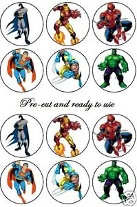 PRE-CUT-edible-action-super-heros-cake-decoration-toppers-Any-4th-free