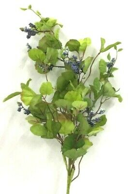 Ginkgo Foliage Berry Spray Stem~Green, Blue~Silk/Foam/Artificial. 24