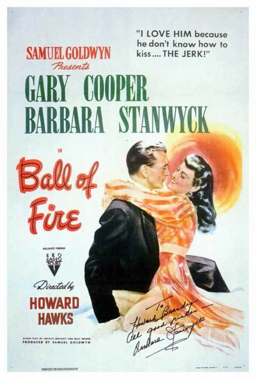 BALL OF FIRE Movie POSTER 27x40 Gary Cooper Barbara Stanwyck Dana Andrews Gene