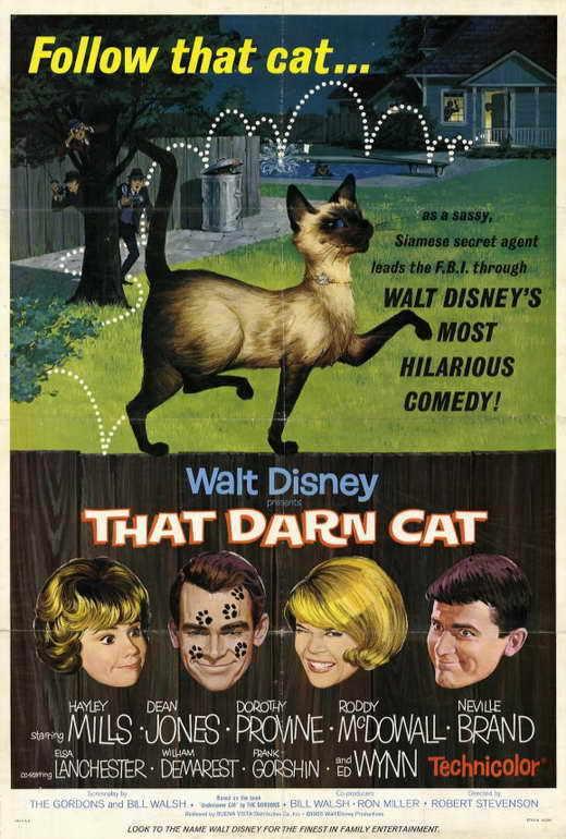 THAT DARN CAT Movie POSTER 27x40 Hayley Mills Dean Jones Dorothy Provine Neville
