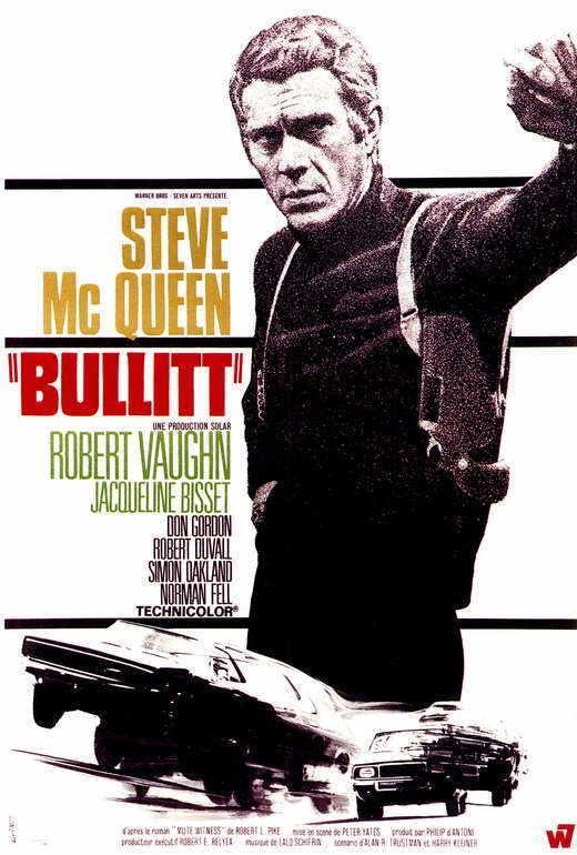 BULLITT Movie POSTER French B 27x40 Steve McQueen Robert Vaughn