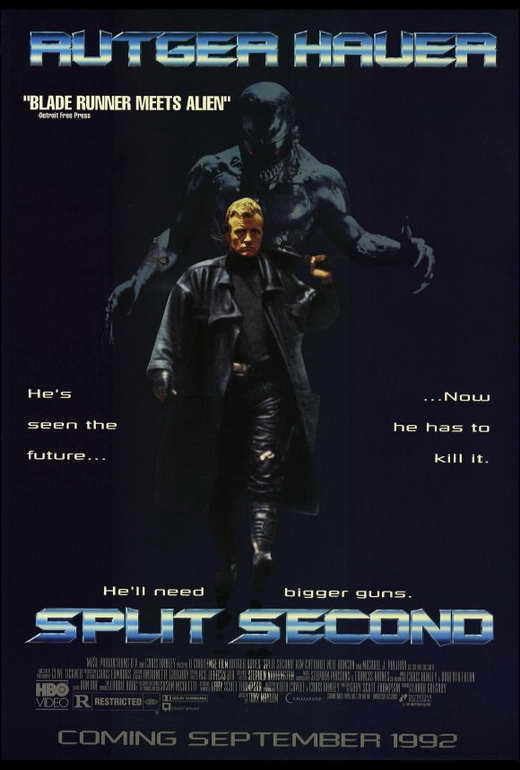 SPLIT SECOND Movie POSTER 27x40 B Rutger Hauer Kim Cattrall Neil Duncan Michael