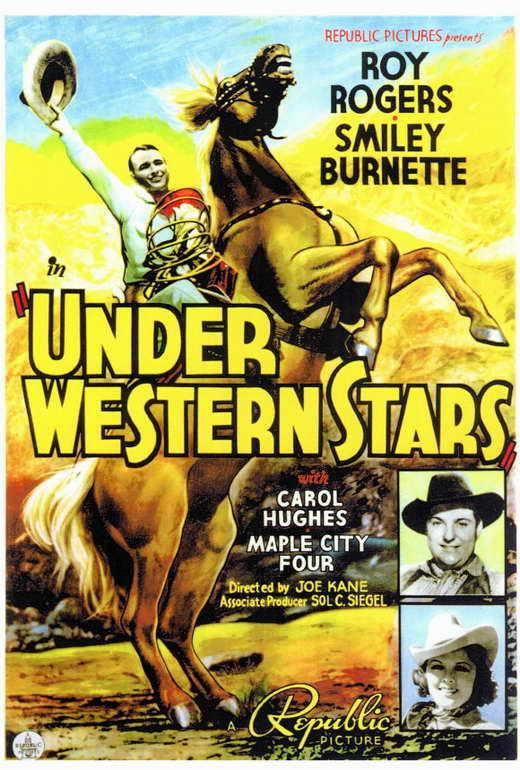 UNDER WESTERN STARS Movie POSTER 27x40 Roy Rogers Smiley Burnette Carol Hughes