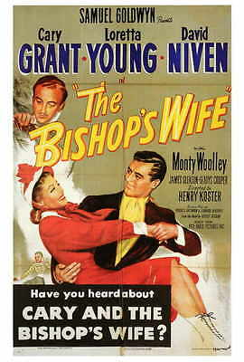 THE BISHOP'S WIFE Movie POSTER 27x40 Cary Grant Loretta Young David Niven Monty