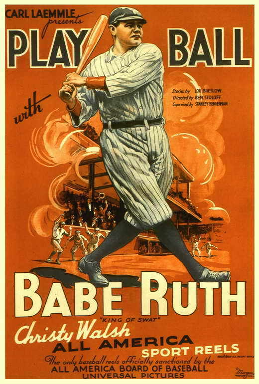 PLAY BALL WITH BABE RUTH Movie POSTER 27x40 Babe Ruth