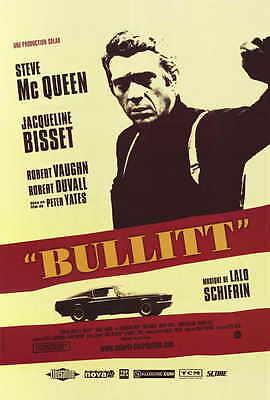 BULLITT Movie POSTER French 27x40 Steve McQueen Robert Vaughn Jacqueline Bisset