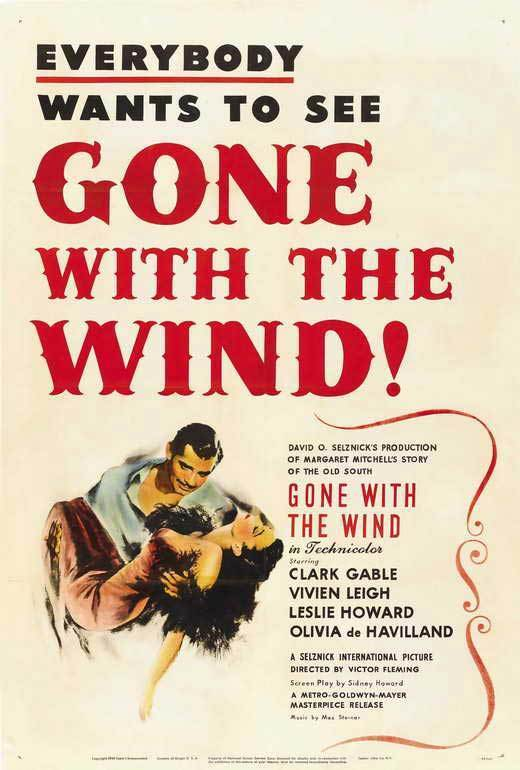 GONE WITH THE WIND Movie POSTER 27x40 G Clark Gable Vivien Leigh Olivia de
