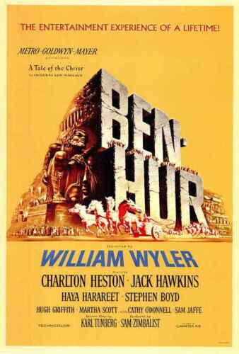 "Ben-Hur (1959) Style-A 27x40"" Charlton Heston Stephen Boyd Biblical Movie Poster"