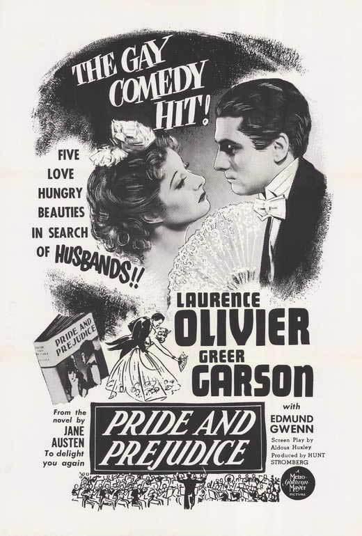 PRIDE AND PREJUDICE Movie POSTER 27x40 B Greer Garson Marten Lamont Laurence