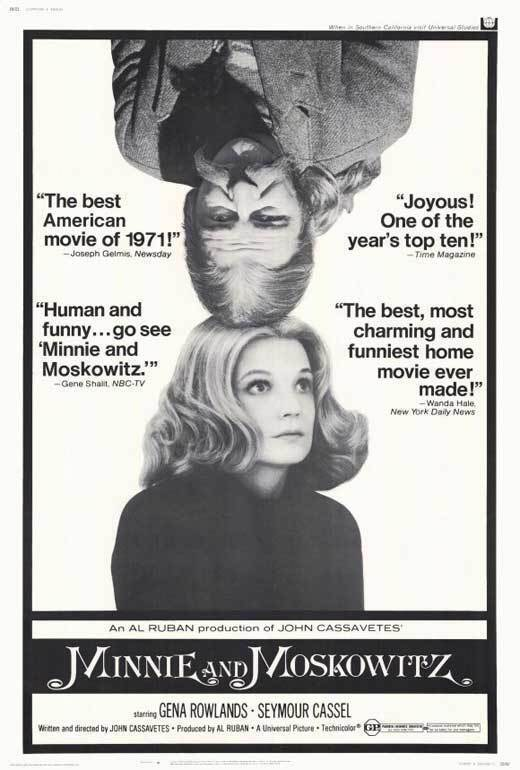 MINNIE AND MOSKOWITZ Movie POSTER 27x40 Gena Rowlands Seymour Cassel Val Avery