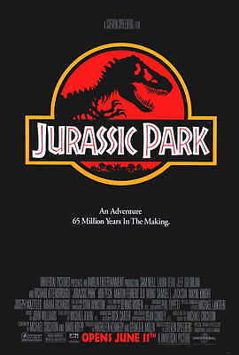 """JURASSIC PARK"" Movie Poster [Licensed-NEW-USA] 27x40"" Theater Size (1993) Red"