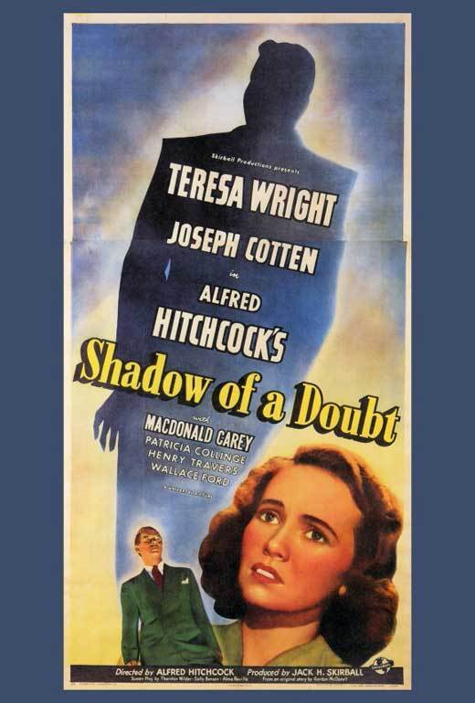 SHADOW OF A DOUBT Movie POSTER 27x40 Teresa Wright Joseph Cotten Hume Cronyn