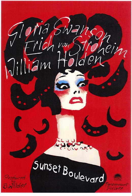 SUNSET BOULEVARD Movie POSTER 27x40 B Gloria Swanson William Holden Erich von
