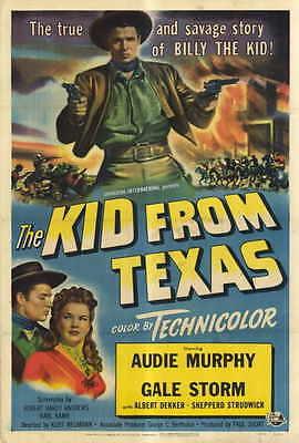 THE KID FROM TEXAS Movie POSTER 27x40 Audie Murphy Gale Storm Albert Dekker