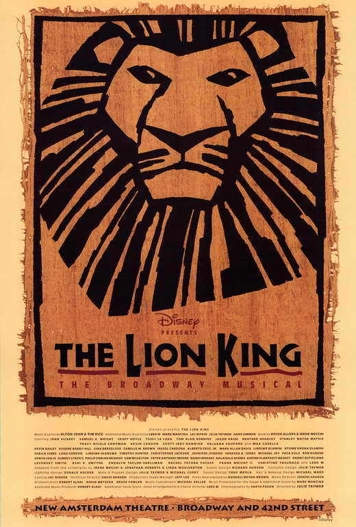 THE LION KING THE BROADWAY MUSICAL (BROADWAY) Movie POSTER 27x40