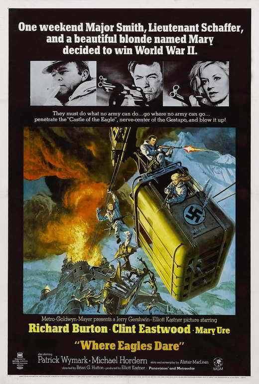 WHERE EAGLES DARE Movie POSTER 27x40 Clint Eastwood Richard Burton Mary Ure