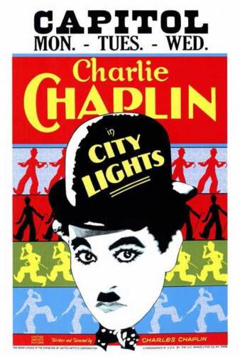 City Lights (1931) Style-A Vintage 30s Charlie Chaplin Silent Movie Poster 27x40