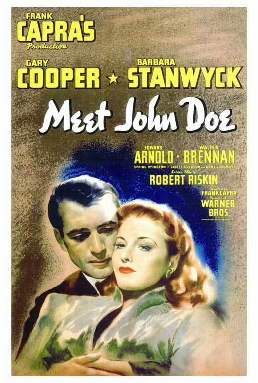 MEET JOHN DOE Movie POSTER 27x40 Gary Cooper Barbara Stanwyck Edward Arnold