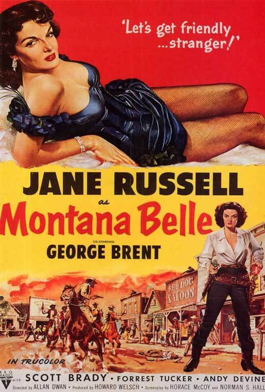 MONTANA BELLE Movie POSTER 27x40 Jane Russell George Brent Scott Brady Forrest